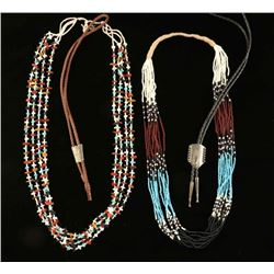Lot of 2 Beaded Necklaces & 2 Bolo Ties