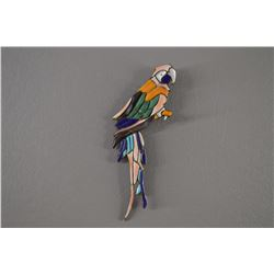 STERLING SILVER INLAID PARROT PIN/PENDANT