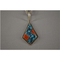 SILVER ZUNI PENDANT SIGNED WITH INITIALS