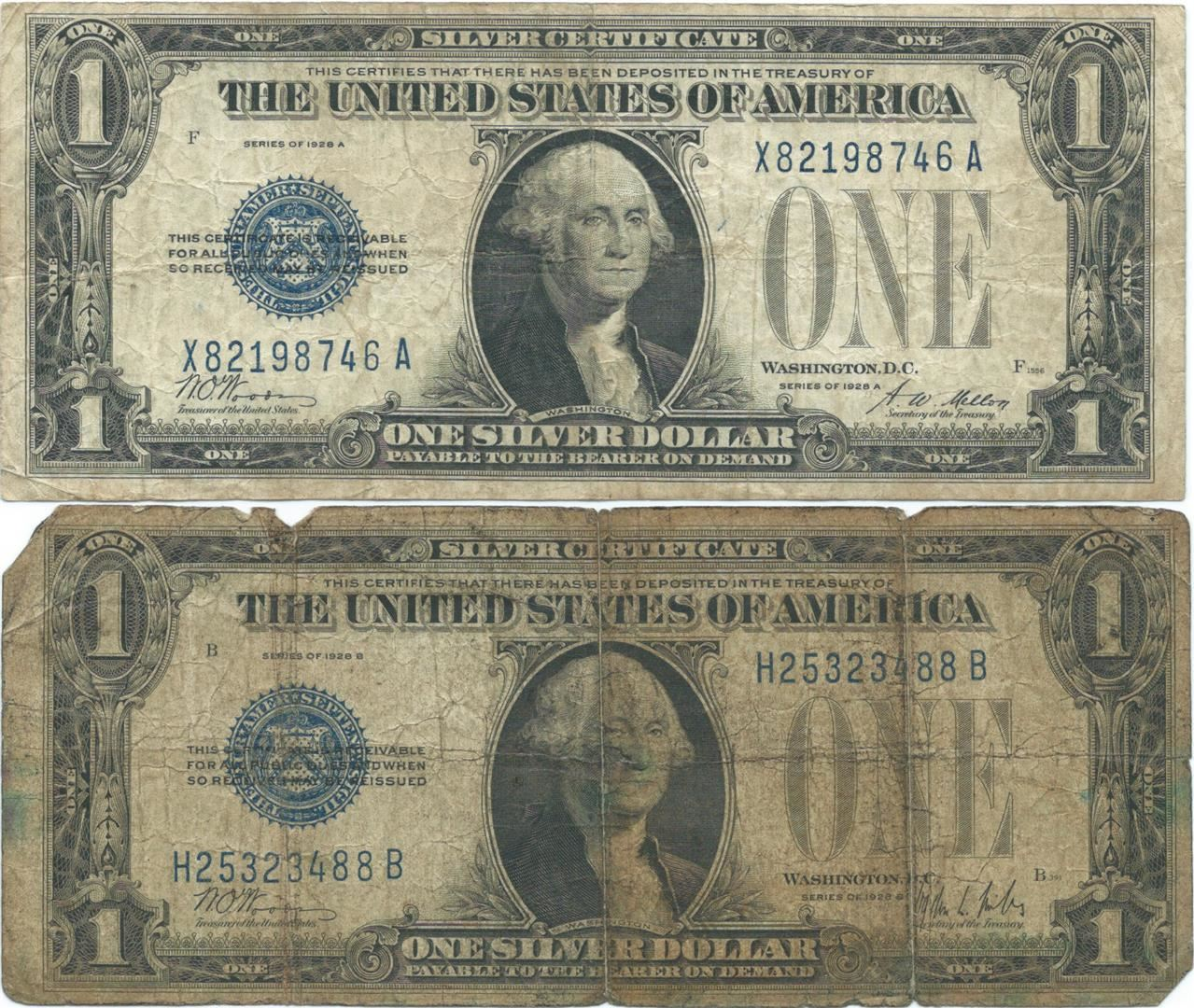 1928 1 Silver Certificate Currency Lot Of 2