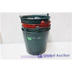 (4) Vintage Metal Buckets (Green and Red)