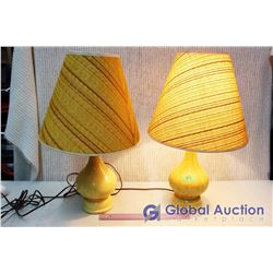 Retro Lamps (2) Yellow With Cloth Shades