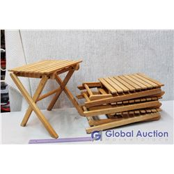 """(4) Small Wooden Folding Tables (13.5""""x 11.5"""" x 11.5"""")"""
