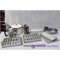Lot of Misc Vintage Kitchen (Coffee Pot, Ice Cube Trays, Enamelware)