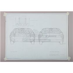 BACK TO THE FUTURE (1985) - Ron Cobb Hand-Drawn DeLorean Front and Rear View Artwork