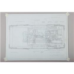 BACK TO THE FUTURE (1985) - Ron Cobb Hand-Drawn DeLorean Overhead Plan Artwork