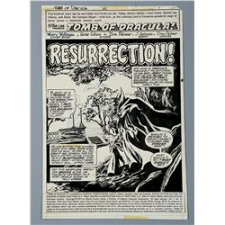 DRACULA / TOMB OF DRACULA (1977) - Gene Colan and Tom Palmer Hand-Drawn Page One Title Splash Artwor