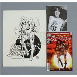 RED SONJA (2014) - Frank Thorne Hand-Drawn T-Shirt Artwork and Signed Comic Book