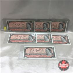 Canada $2 Bill 1954 (7)  Sequential : #UG5249004-005-006-007-008-009-010