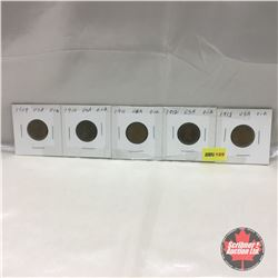 US One Cent - Strip of 5: 1909; 1910; 1911; 1912; 1913