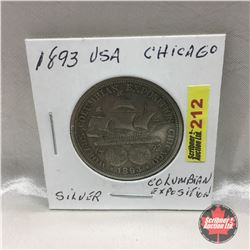US Chicago Columbian Exposition Silver Coin 1893