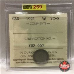 """Canada Five Cent 1921 """"Prince of Coins"""" (ICCS Certified XUZ997:  VG-8)"""
