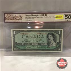 Canada $1 Bill 1954* (Replacement) #*AY0172454 (BCS Certified: Almost UNC 50)