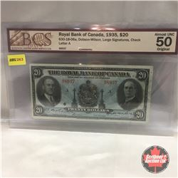 The Royal Bank of Canada $20 Bill 1935 #98937 (BCS Certified: Almost Unc 50)