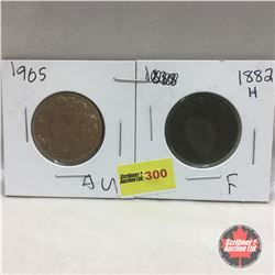 Canada Large Cent - Strip of 2: 1882H; 1905