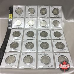 Canada Fifty Cent - Sheet of 20: 1968; 1969; 1970; 1972; 1973; 1974; 1975; 1976; 1978; 1979; 1980; 1