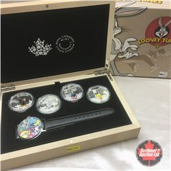 RCM 2015 Looney Tunes : $20 Fine Silver 4 Coin Set & Watch