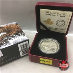 RCM 2015 Grizzly Bear The Catch $20 Fine Silver Coin
