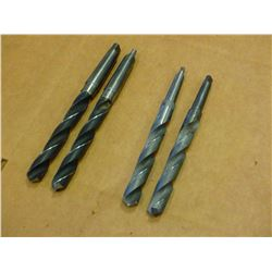 LOT OF 4 #3 MORSE TAPER SHANK(2) 27/32 AND (2) #2 MORSE TAPER SHANK 7/8  DRILL BITS