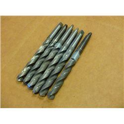 LOT OF 6 #2 MORSE TAPER SHANK(2) 23/32 , (2) 43/64 AND 47/64 DRILL BITS