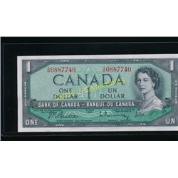 Uncirculated 1954 Canadian $1 Banknote