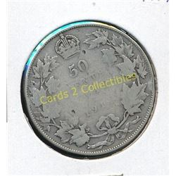 1918 Canadian King George Silver 1/2 Dollar Coin