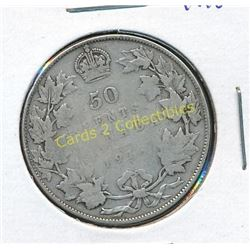 1918 Canadian Silver King George 1/2 Dollar Coin