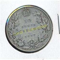 1919 Canadian Silver King George 1/2 Dolar Coin