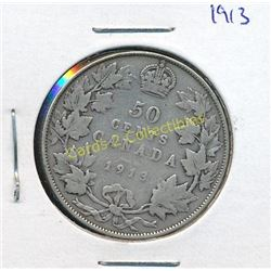 1913 Canadian Silver King George 1/2 Dollar Coin