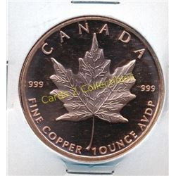 1 Ounce Canada Maple Leaf .999 Fine Copper Coin