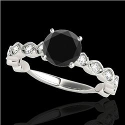 1.5 CTW Certified VS Black Diamond Solitaire Ring 10K White Gold - REF-64H2A - 34883