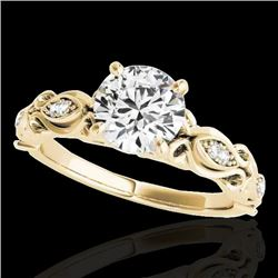 1.1 CTW H-SI/I Certified Diamond Solitaire Antique Ring 10K Yellow Gold - REF-156N4Y - 34632