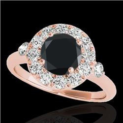 1.5 CTW Certified VS Black Diamond Solitaire Halo Ring 10K Rose Gold - REF-69H3A - 33458