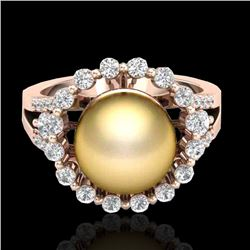 0.83 Ct Micro Pave VS/SI Diamond & Golden Pearl Halo Ring 14K Rose Gold - REF-71K6W - 20701