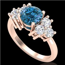 2.1 CTW Intense Blue Diamond Solitaire Engagement Classic Ring 18K Rose Gold - REF-270Y9K - 37608