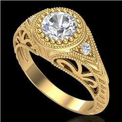 1.07 CTW VS/SI Diamond Art Deco Ring 18K Yellow Gold - REF-321F2N - 36886