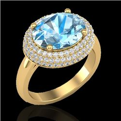 5 CTW Sky Blue Topaz & Micro Pave VS/SI Diamond Ring 18K Yellow Gold - REF-98Y8K - 20909