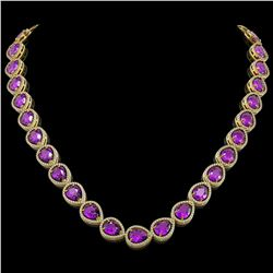 43.2 CTW Amethyst & Diamond Halo Necklace 10K Yellow Gold - REF-603A3X - 41227