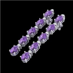10.36 CTW Amethyst & VS/SI Certified Diamond Tennis Earrings 10K White Gold - REF-58H2A - 29385