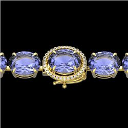 75 CTW Tanzanite & Micro VS/SI Diamond Halo Designer Bracelet 14K Yellow Gold - REF-865M6H - 22281