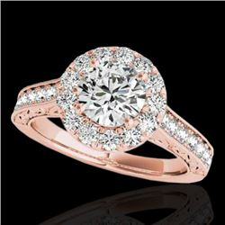 1.7 CTW H-SI/I Certified Diamond Solitaire Halo Ring 10K Rose Gold - REF-178N2Y - 33725