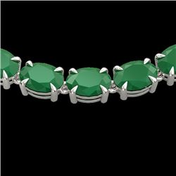 68 CTW Emerald Eternity Designer Inspired Tennis Necklace 14K White Gold - REF-234H9A - 23401