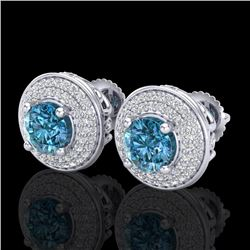 2.35 CTW Fancy Intense Blue Diamond Art Deco Stud Earrings 18K White Gold - REF-236T4M - 38132