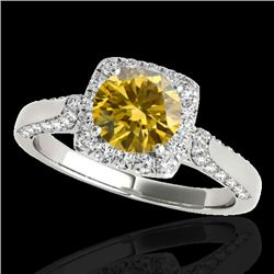 1.5 CTW Certified Si/I Fancy Intense Yellow Diamond Solitaire Halo Ring 10K White Gold - REF-176H4A