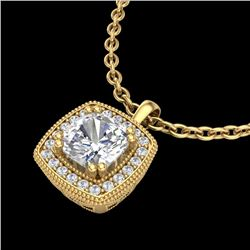 1.25 CTW Cushion VS/SI Diamond Solitaire Art Deco Necklace 18K Yellow Gold - REF-315H2A - 37039
