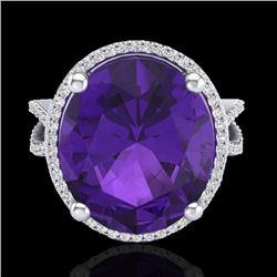 10 CTW Amethyst & Micro Pave VS/SI Diamond Halo Ring 18K White Gold - REF-80H2A - 20952