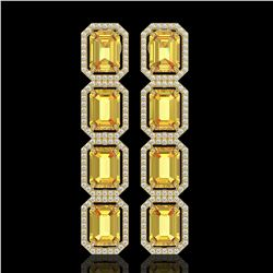 18.64 CTW Fancy Citrine & Diamond Halo Earrings 10K Yellow Gold - REF-184T2M - 41614