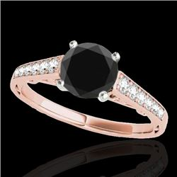 1.35 CTW Certified VS Black Diamond Solitaire Ring 10K Rose Gold - REF-53H3A - 34911