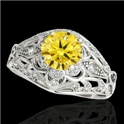 1.36 CTW Certified Si Intense Yellow Diamond Solitaire Antique Ring 10K White Gold - REF-172M8H - 34