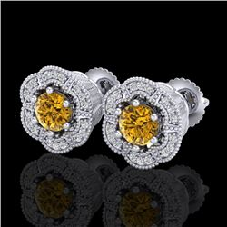 1.51 CTW Intense Fancy Yellow Diamond Art Deco Stud Earrings 18K White Gold - REF-178Y2K - 37966